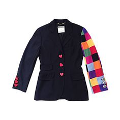 Amazing Vintage Moschino Couture Black Blazer w Patchwork Sleeve   Heart Buttons   From a collection of rare vintage jackets at https://www.1stdibs.com/fashion/clothing/jackets/