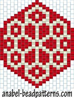 Схема двухцветных сережек из бисера - мозаичное / кирпичное плетение - earrings peyote pattern