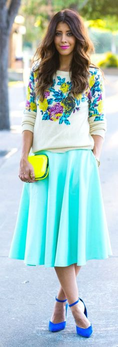 Floral sweater +mint blue skirt this season