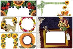 Оригинальные шаблоны рамок с подсолнухами для оформления фото в Фотошопе