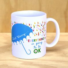 Don't Worry Mug by Rock Scissor Paper $14