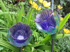 Glass Plate Bell Flowers by TheEverlastingGarden on Etsy