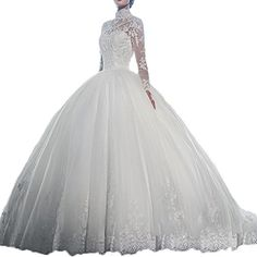 Yuxin High Neck Long Sleeves Wedding Dress Lace Ball Gown Wedding Gowns ** You can find more details by visiting the image link.