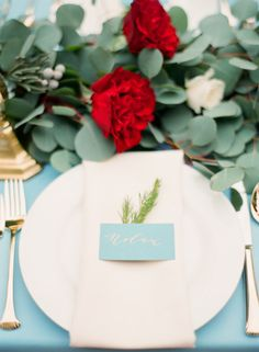Blue and red table inspiration: http://www.stylemepretty.com/little-black-book-blog/2015/02/06/romantic-cranberry-dusty-blue-wedding-inspiration/ | Photography: Mint - http://mymintphotography.com/