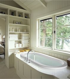 Love this MTI New Yorker tub and the soothing feel of the bathroom.