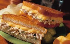 Classic Tuna Melt 4 SERVINGS 2 cans oz. finely chopped celery or pickle relish 8 slices bread, toasted 4 slices cheese Fish Recipes, Seafood Recipes, Cooking Recipes, Healthy Recipes, Healthy Food, Tuna Melt Sandwich, Tuna Melts, Sandwich Recipes, I Love Food