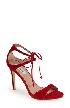 Steve Madden 'Semona' Suede Ankle Strap Sandal (Women) available at #Nordstrom Red are cute but I *love* the nude!!