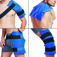 "Large Shoulder Back Hip Thigh Knee Gel Ice Pack with Wrap & Elastic Straps for Hot or Cold Therapy, Great for Sprains, Muscle Pain, Bruises, Injuries 14"" x11"""
