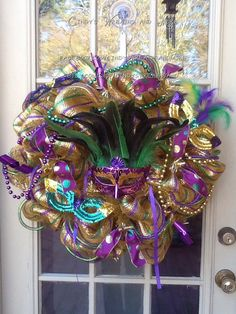 Mardi Gras Wreath, Mesh Wreath, Mask, Door Decor, House decor