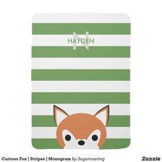 Curious Fox   Stripes   Monogram Baby Blankets