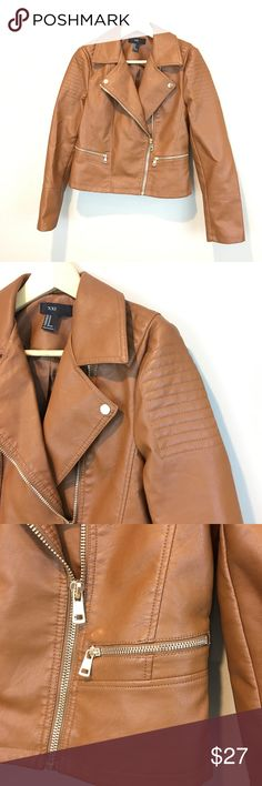 Forever 21 Vegan Leather Moto Jacket. Forever 21 Vegan Leather Moto Jacket. Size medium. Color tan. Excellent used condition. No marks or stains. Forever 21 Jackets & Coats