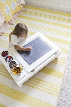 It's time again for Second Tuesday Art Walk. We have some fantastic DIY projects to look at, so I hope you're ready to be inspired. Projects For Kids, Diy For Kids, Diy Projects, Girl Desk, Child Desk, Child Room, Room Kids, Picture Frame Table, Drawing Desk