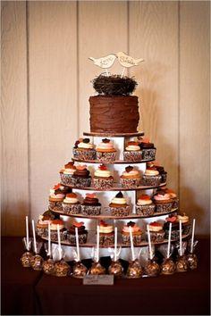 Fall wedding cake fall wedding cakes, wedding cakes with cupcakes, wedding desserts, cupcake Fall Wedding Cakes, Wedding Desserts, Autumn Wedding, Rustic Wedding, Our Wedding, Dream Wedding, Formal Wedding, Trendy Wedding, Wedding Favors