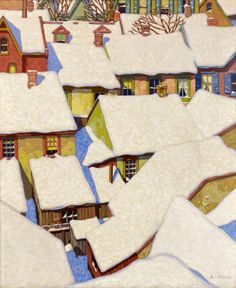 ALFRED JOSEPH CASSON Housetops On The Ward Oil on Canvas.  SHEAR [in-spuh-rey-shuhn]