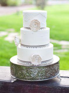 gorgeous white vintage glam cake