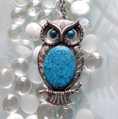 Vintage Owl Necklace Silvertone and Turquoise (Slotted Wings). $32.00, via Etsy.