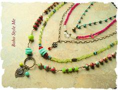 Boho Style Colorful Statement Necklace Layered Bohemian