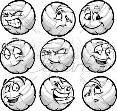 Volleyball Ball Cartoon Faces with a Variety of Facial Expressions -Determined, confused, happy, flirty, annoyed, pleased surprised, aggressive, thoughtful, satisfied, confident, focused.