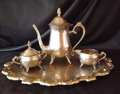 Vintage International Silver Tea Set 4 Piece Set Tray Pitcher Sugar Creamer Dish #InternationalSilver