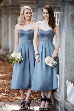 Sorella Vita Midi Length Bridesmaid Dresses / http://www.deerpearlflowers.com/sorella-vita-bridesmaid-dresses/4/