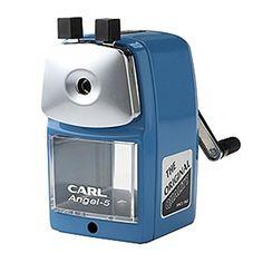Carl Angel-5 Pencil Sharpener, Blue, Quiet for Office, Home and School Carl http://www.amazon.com/dp/B00MVHU1S6/ref=cm_sw_r_pi_dp_wsH8ub0P8HFCA