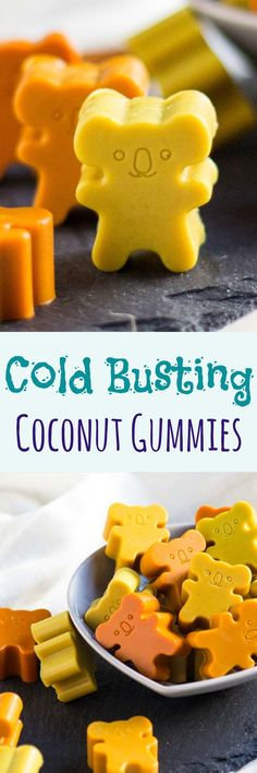Cold Busting Coconut Gummies.  Loaded with natural turmeric, ginger and honey to help ward off colds and flu. Great for kids.