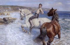 Rowland Wheelwright, Summertime, 47 x 71 inches Rowland Wheelwright, The Enchanted Shore Lucy Kemp-Welch, Horses Bathing in . Paintings I Love, Animal Paintings, Oil Paintings, Horse Paintings, Pastel Paintings, Horse Drawings, Art Drawings, Rodin Drawing, Arte Equina