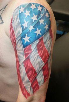 American flag sleeve by Heather Fields #InkedMagazine #flag #tattoo #tattoos #Inked #ink
