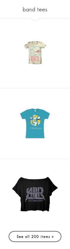 """""""band tees"""" by thegallowisgod ❤ liked on Polyvore featuring tops, t-shirts, blue top, turquoise t shirt, turquoise top, blue t shirt, blue tee, crop tee, cut-out crop tops and american tees"""
