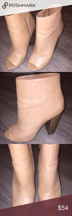 """Aldo Genuine Leather Peeptoe Ankle Bootie in tan Aldo Genuine Leather Peeptoe Ankle Bootie in tan, Size 7. These stylish booties will make your outfit! Heel height 4"""" Aldo Shoes Ankle Boots & Booties"""