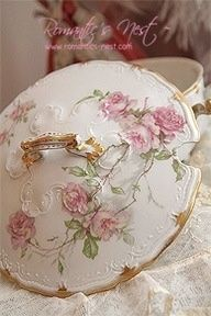 Pink roses and gilt trim china