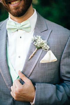 Ideas for wedding colors mint sea foam Grey Suit Wedding, Wedding Mint Green, Tuxedo Wedding, Wedding Groom, Lace Wedding, Wedding Flowers, Mint Groomsmen, Groom And Groomsmen, Groom Outfit