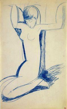 Modigliani, Kneeling Blue Caryatid (Inspired by the Russian poet Anna Akhmatova). Blue crayon 43 x cms x 10 ½ inches) Amedeo Modigliani, Italian Painters, Italian Artist, Karl Schmidt Rottluff, Blue Crayon, Edvard Munch, Art Moderne, Gravure, Pablo Picasso