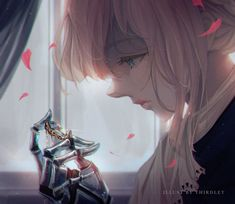 Violet Evergarden uploaded by White on We Heart It Sad Anime, Anime Love, Anime Manga, Anime Fantasy, Fantasy Art, Violet Evergreen, Violet Evergarden Anime, Fanart, Kyoto Animation