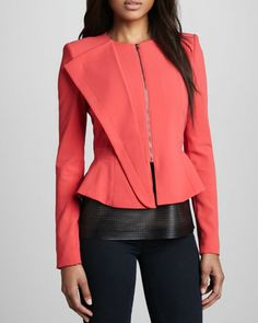 Folded-Panel Zip Jacket by BCBGMAXAZRIA at Neiman Marcus.