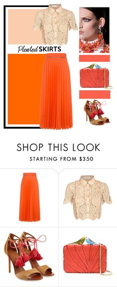 """Well, yes, I love coral...."" by theitalianglam ❤ liked on Polyvore featuring Karen Walker, self-portrait, Malone Souliers, Sarah's Bag and pleatedskirts"
