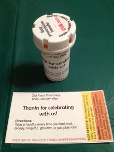 This was the favor.  The prescription bottles were filled with M&Ms.   I found this free printable label online.