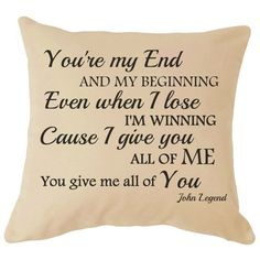 John Legend All of Me Lyrics Cushion Cover Great For your Sofa Perfect Gift For Him / Her