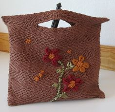 Mocha Brown Bag with Silk Lining in Fall Colors by LulusCreations1