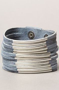 The Suede and Silver Bar Snap Cuff