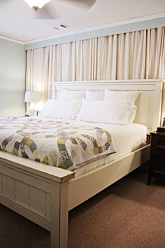 Bedroom Curtains Behind Bed Window Ideas Window Behind Bed, Wall Behind Bed, Curtains Behind Bed, Window Bed, Bed Wall, Window Drapes, Window Wall, Curtains On Wall, Window Coverings