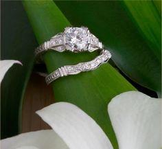 Art Deco Filligree Engagement & Wedding Ring Set - Mellow Antiques