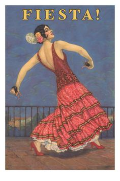 size: Art Print: Poster for Fiesta Days, Santa Barbara, California : Vintage Posters, Vintage Art, Vintage Travel, Spanish Dance, Spanish Eyes, Spanish Style, Dance Magazine, Flamenco Dancers, Flamenco Party