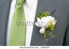 Wedding Boutonnieres   Boutonniere On Grey Suit,Green Tie Stock Photo 32885047 : Shutterstock