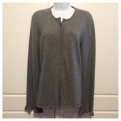 "Tory Burch Grey Cashmere Henley Sweater Smoke grey Henley style sweater in 100% cashmere. Long sleeves have a single ruffle at cuffs. Measurements are: Shoulders 16"", Bust 20"", Waist 18.5"", Sleeves 26"", Length 25.5"". Tory Burch Sweaters"