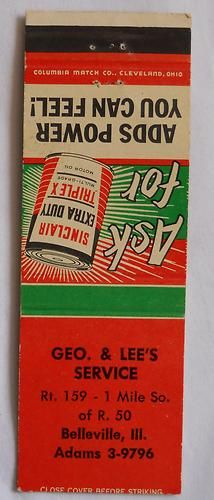 Geo. & Lee's Service Rt. 159 Belleville IL St. Clair County Matchcover