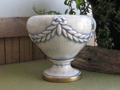 Haeger Pottery Urn Vintage Blue and White Vase by LazyYVintage