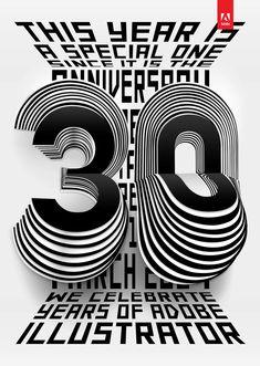 30 Years of Adobe Illustrator Art Print by Tina Touli Design - X-Small Inspiration Logo Design, Graphic Design Trends, Graphic Design Posters, Graphic Design Typography, Ad Design, Graphic Design Illustration, Bird Illustration, Typo Design, Identity Design
