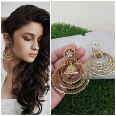 Our Celebrity Multi-Layer Chandbalis Are Hancrafted With Love. These Are An Absolute Delight To Take Your Outfit To A Ten On Ten. These Strikingly Beautiful High Quality Kundan Earrings Are Made In Brass lined with fine lustrous pearls. Pair Them Up With Anarkalis, Lehengas Or Sarees And Be The Talk