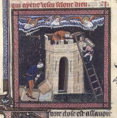 Unknown (14th century)-'Tower of Babel (construction)'-illumination    Paris-BNF (city of God fr 171, fol.125v)
